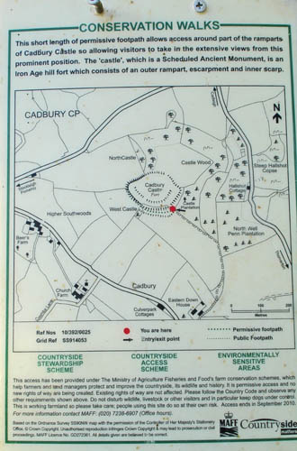 Map of Cadbury castle