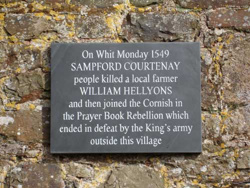 Sampford Courtney plaque