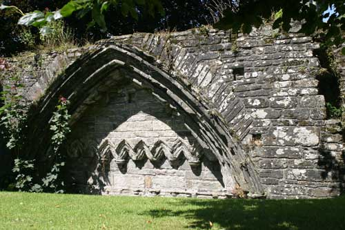 old cloister ruins at Saint Eustace church, Tavistock