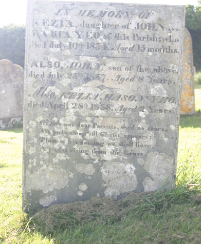 Gravestone in Tetcott Church of the Holy Cross